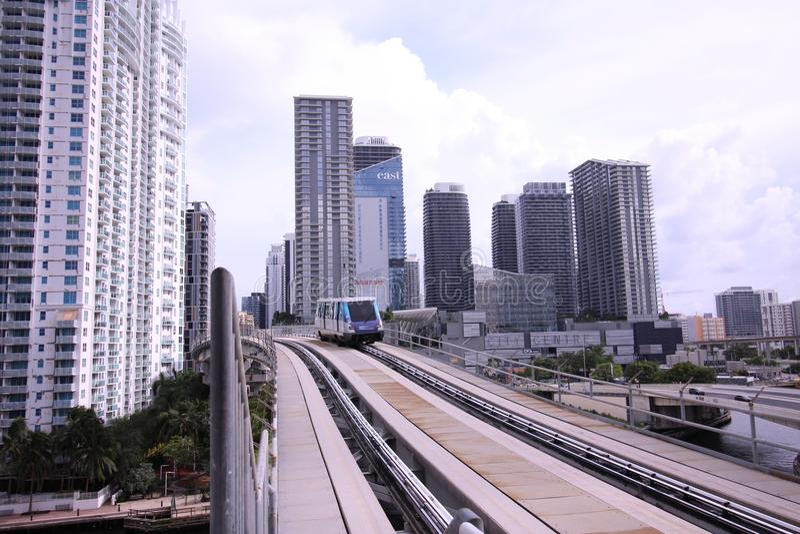 Metro Mover Shuttle Train in Brickell Downtown Miami Florida royalty free stock photos