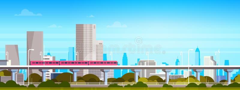 Metro Nad Nowożytną miasto panoramą Z Wysokimi drapaczami chmur, pejzażu miejskiego tła Horyzontalny sztandar ilustracji