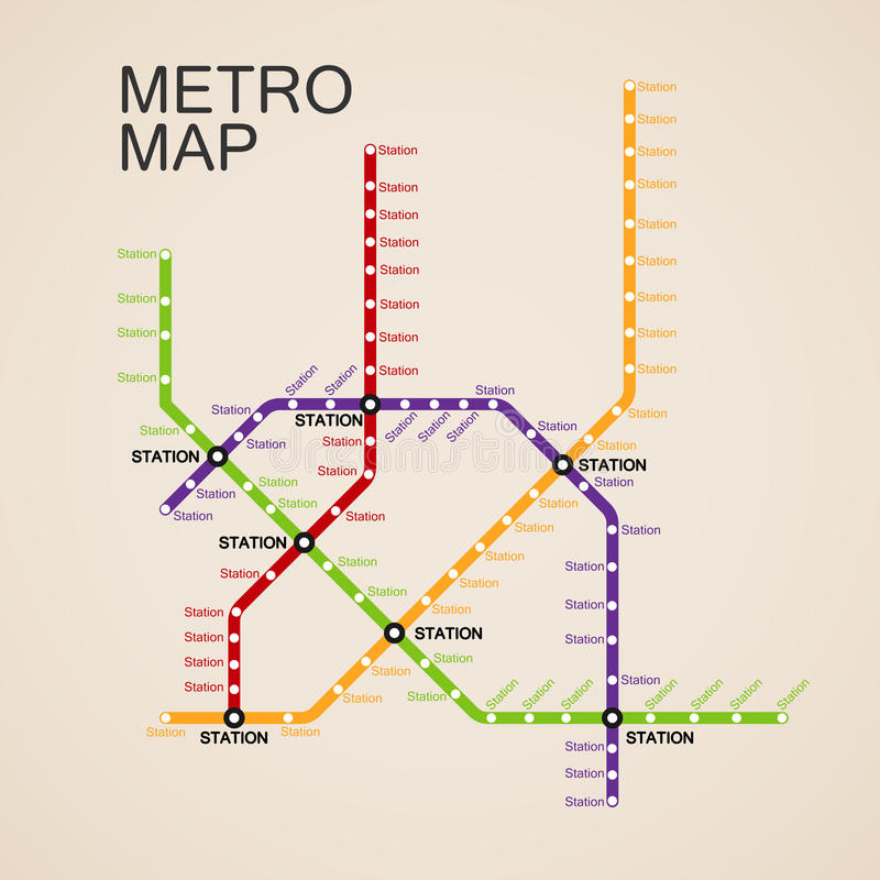 Metro- oder U-Bahn-Plan-Design lizenzfreie abbildung