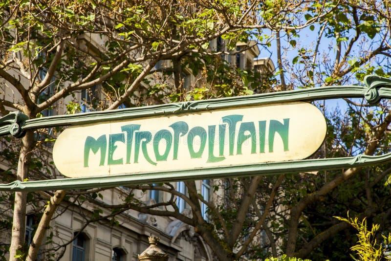 Paris metro old sign. Metro old sign, Paris, France stock photo