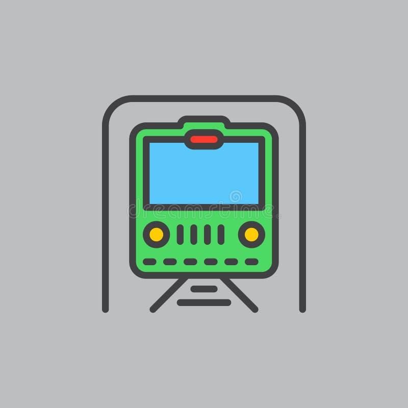 Metro, ondergronds gevuld overzichtspictogram, lijn vectorteken, vlak kleurrijk pictogram Symbool, embleemillustratie Perfect pix vector illustratie