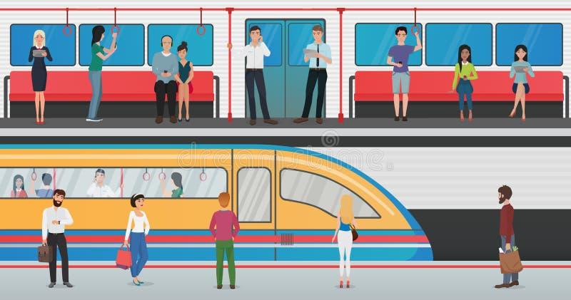 Metro para dentro com plataforma dos povos e do metro com o trem na estação subterrânea Conceito urbano do vetor do metro com ilustração royalty free