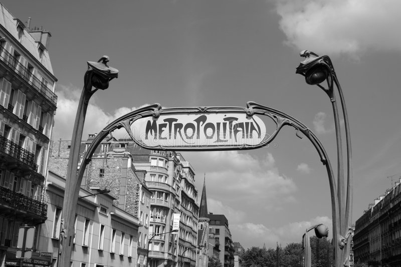 Metro Paris. Beautiful old style metro sign in Paris, France royalty free stock photo