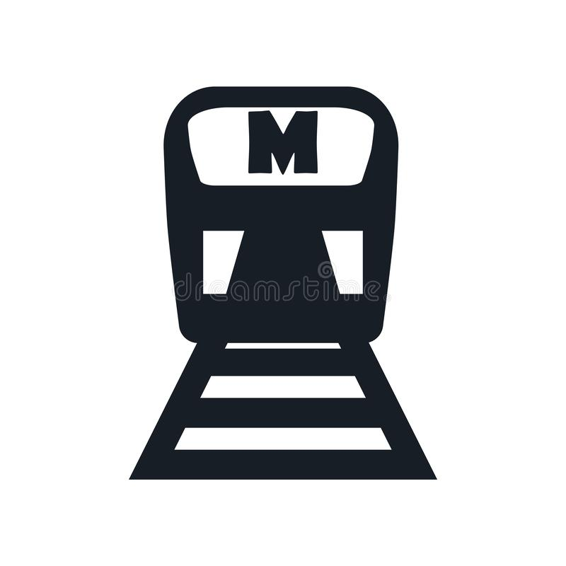 Metro pictogram vectordieteken en symbool op witte achtergrond, Metro embleemconcept wordt geïsoleerd stock illustratie
