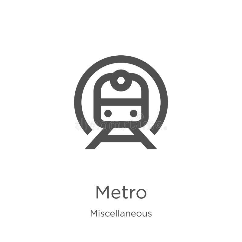 metro pictogramvector van diverse inzameling De dunne lijnmetro vectorillustratie van het overzichtspictogram Overzicht, dun lijn stock illustratie
