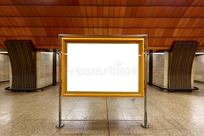 Metro placard. Place for info or advertising stock photos