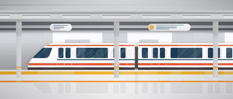Metro, podziemna platforma z nowożytnym pociągiem Horyzontalna kolorowa wektorowa ilustracja w mieszkanie stylu royalty ilustracja