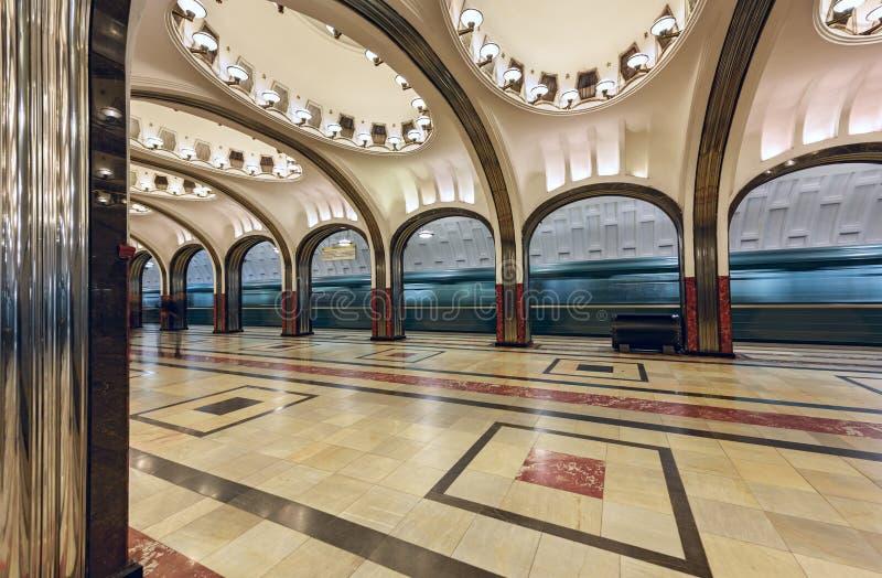 Metro post Mayakovskaya Moskou, Rusland royalty-vrije stock fotografie