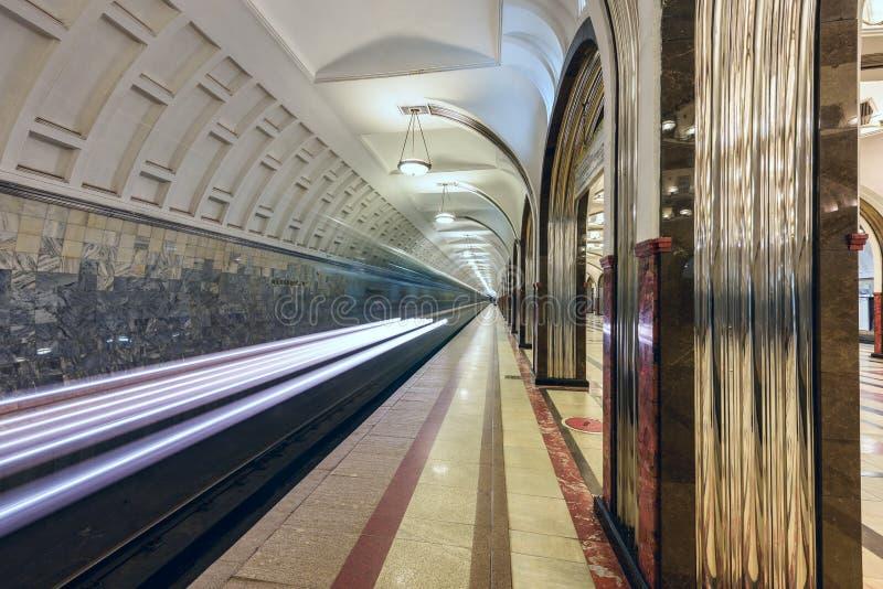 Metro post Mayakovskaya Moskou, Rusland royalty-vrije stock foto's