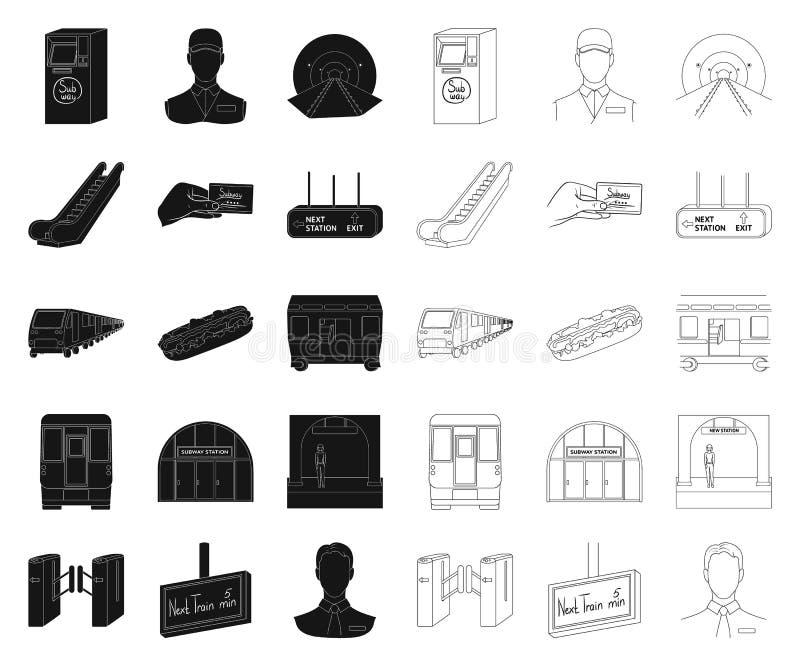 Metro, preto do metro, ícones do esboço em coleção ajustada para o projeto Ilustração da Web do estoque do símbolo do vetor do tr ilustração stock