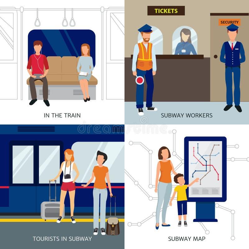 Metro projekta pojęcia ludzie ilustracja wektor
