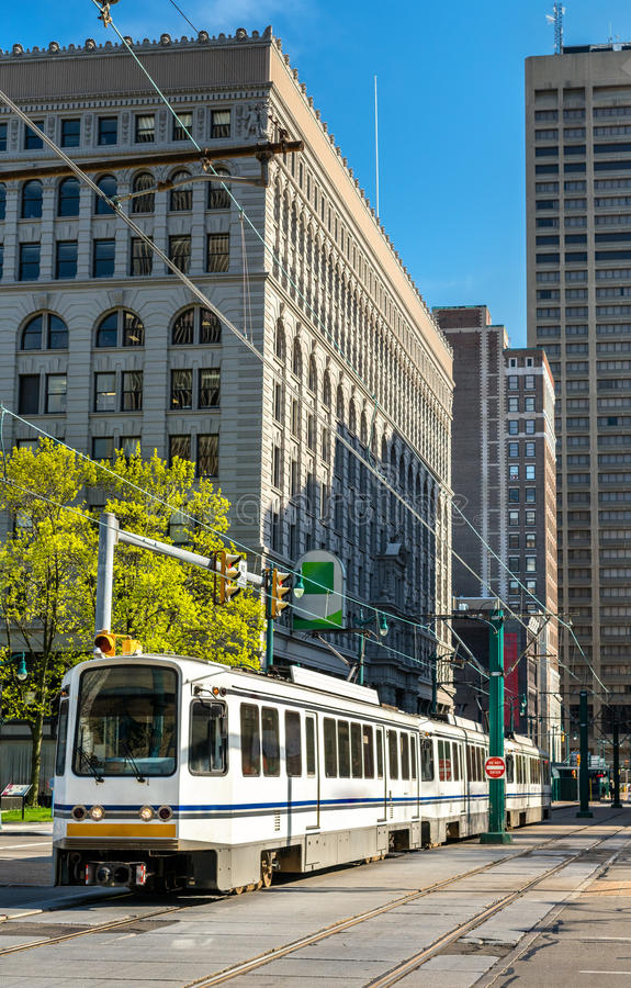 Metro Rail on Main Street in Buffalo, New York. Metro Rail on Main Street in Buffalo - New York, United States royalty free stock image