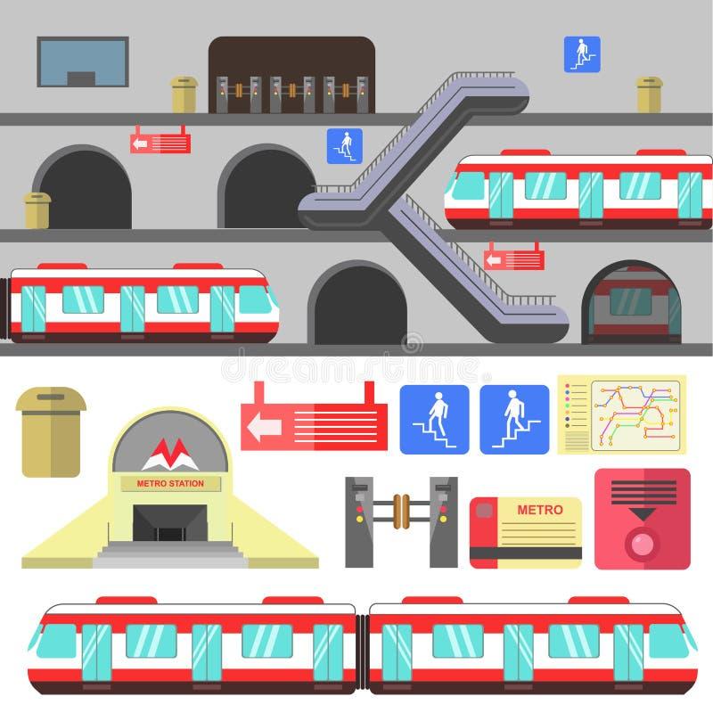 Metro rail station vector illustration. Metro rail station illustration. Vector subway flat icons. Set of underground symbols train, map, escalator, navigation royalty free illustration