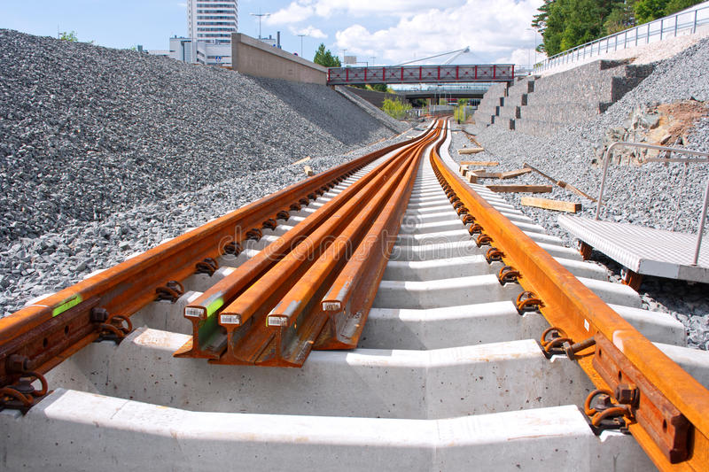 Metro railway construction site royalty free stock images