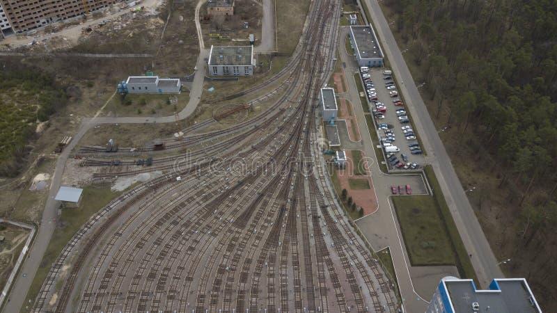 Metro railway depot top view Kiev Ukraine.  stock images