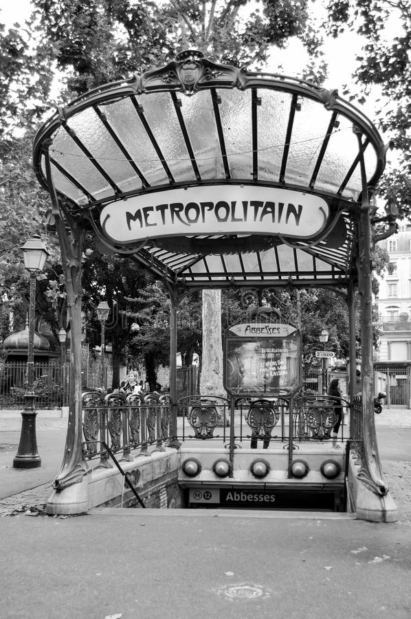 Metro sign in Paris - Abbesses stock photo