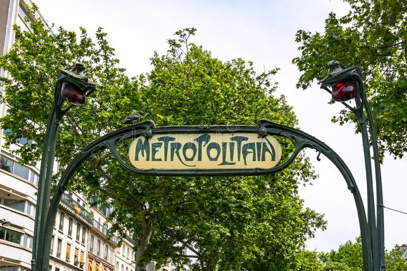 Metro sign in Paris, France stock image
