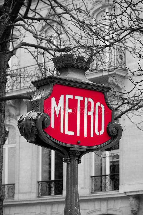 Metro sign in paris, france royalty free stock photo