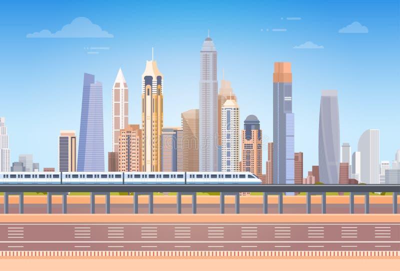 Metro sobre a skyline do fundo da arquitetura da cidade da opinião do arranha-céus da cidade com espaço da cópia ilustração do vetor