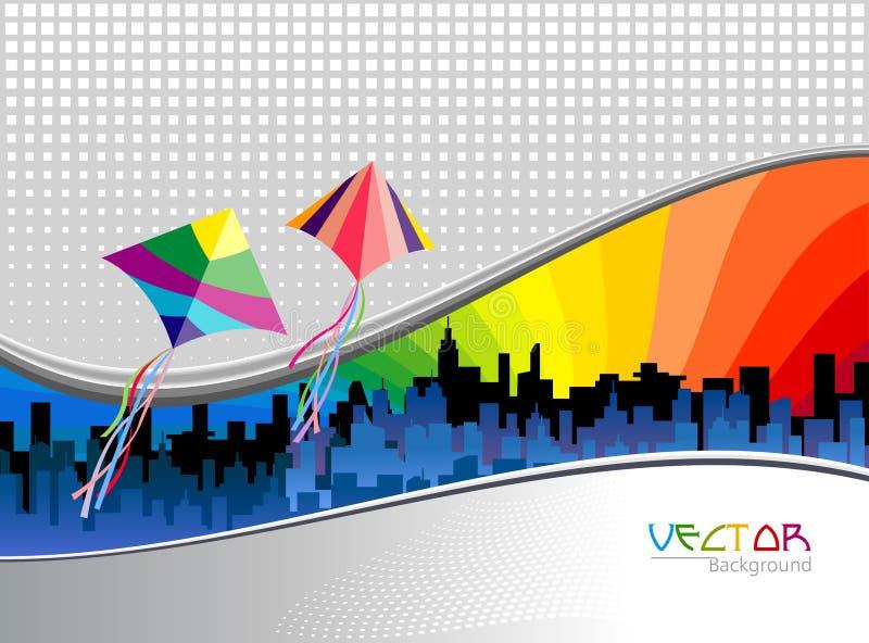 Metro-Stadt-Hintergrund-und Flugwesen-Drachen vektor abbildung