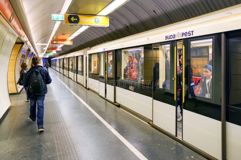 Metro station in Budapest, Hungary. BUDAPEST, HUNGARY - MAY 5: Subway Keleti station in Budapest on May 5, 2017 stock image
