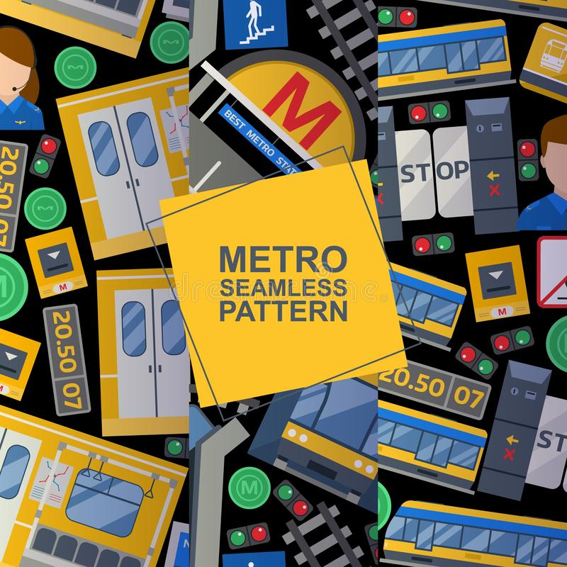 Metro station elements set of seamless patterns background including train, platform, ticket, driver, doors, card, map. With lines. Vector illustration of stock illustration