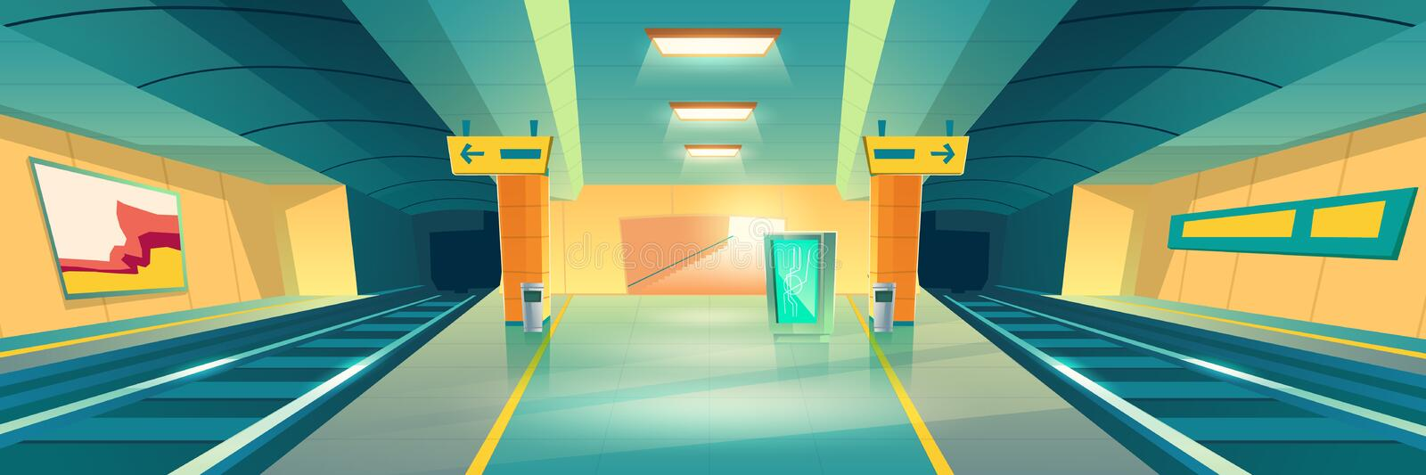 Metro station, empty subway platform, underground. Interior design with map and ads banners. Modern metropolitan, railroad urban transportation background royalty free illustration