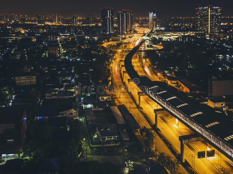 Metro station in the middle of the city at night.High angle view. Focus at the BTS station royalty free stock photos