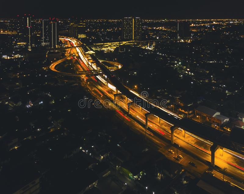 Metro station in the middle of the city at night.High angle view.  stock image