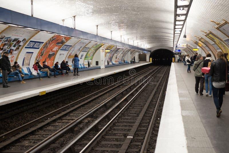 Metro station in Paris. Metro underground tunel in Paris royalty free stock images
