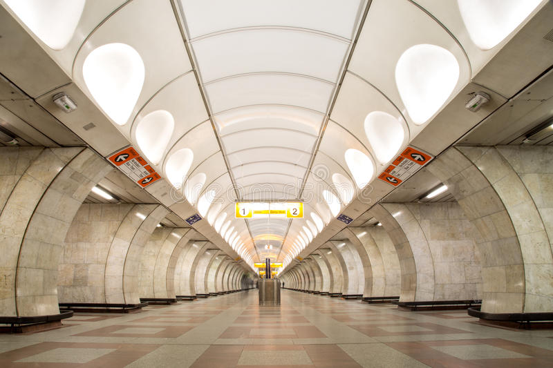 Metro Station in Prague. Prague, Czech Republic - March 20, 2017: Interior view of the Andel metro station stock photo