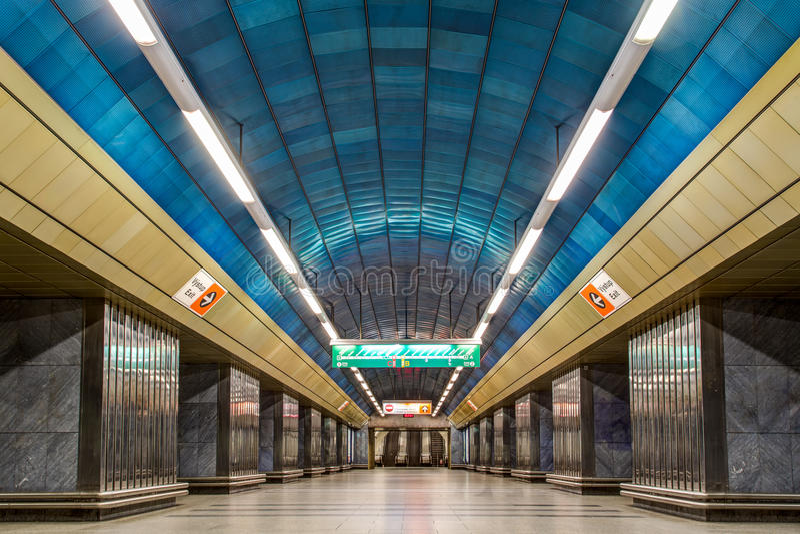 Metro Station in Prague. Prague, Czech Republic - March 20, 2017: Interior view of Namesti Miru metro station stock image