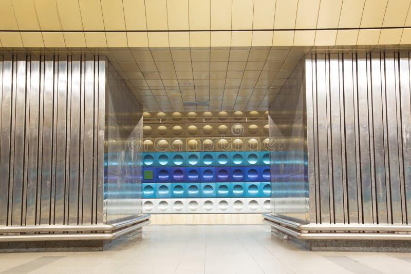 Metro Station in Prague. Prague, Czech Republic - March 20, 2017: Interior view of Namesti Miru metro station royalty free stock images
