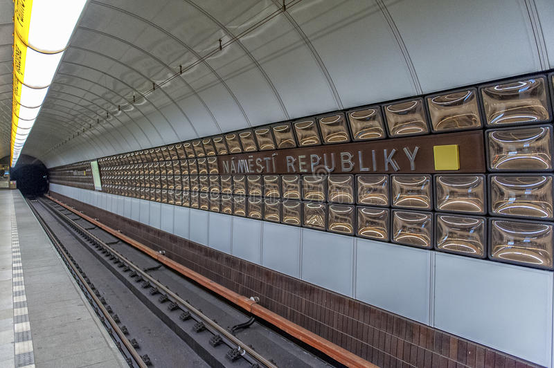 Metro station in Prague. Photograph of the Metro subway system of Prague,Czech Republic royalty free stock images