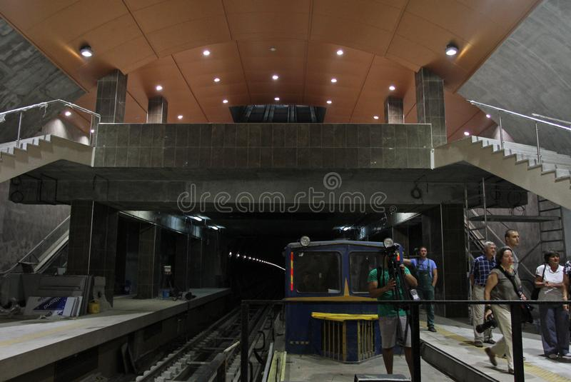 Metro station of the Sofia subway in Sofia, Bulgaria – aug 29, 2012. Metro station of the Sofia subway in Sofia, Bulgaria – aug 29, 2012 royalty free stock image
