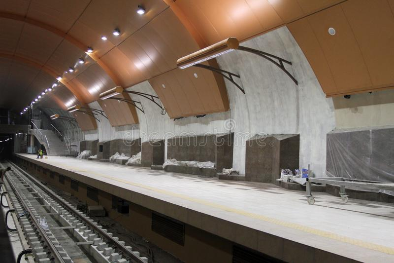 Metro station of the Sofia subway during construction in Sofia, Bulgaria – aug 29, 2012. Metro station of the Sofia subway during construction in Sofia stock image