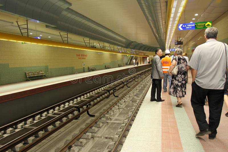 Metro station of the Sofia subway in Sofia, Bulgaria – aug 29, 2012. Metro station of the Sofia subway in Sofia, Bulgaria – aug 29, 2012 stock photo