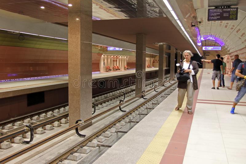 Metro station of the Sofia subway in Sofia, Bulgaria – aug 29, 2012. Metro station of the Sofia subway in Sofia, Bulgaria – aug 29, 2012 stock photos