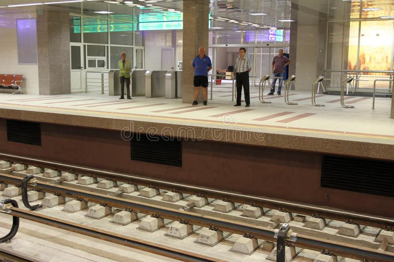 Metro station of the Sofia subway in Sofia, Bulgaria – aug 29, 2012. Metro station of the Sofia subway in Sofia, Bulgaria – aug 29, 2012 stock photography