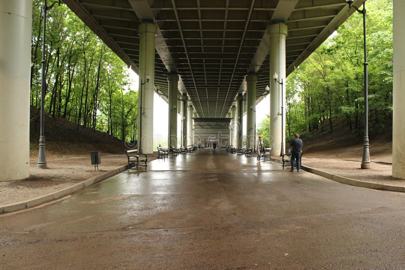 The metro station Sparrow Hills, a view of Luzhniki from bridge royalty free stock image