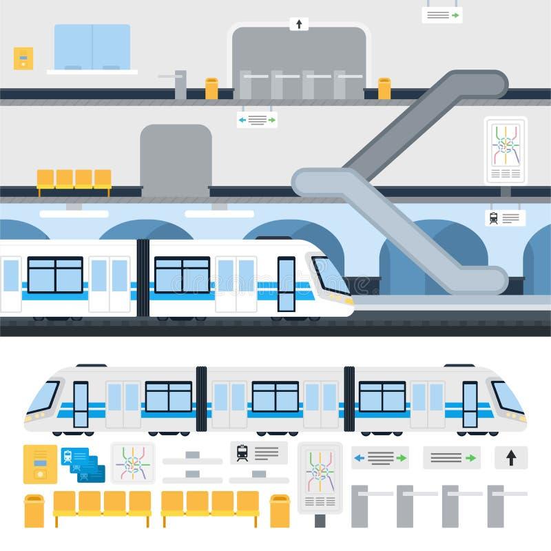 Metro subterráneo en la estación ilustración del vector