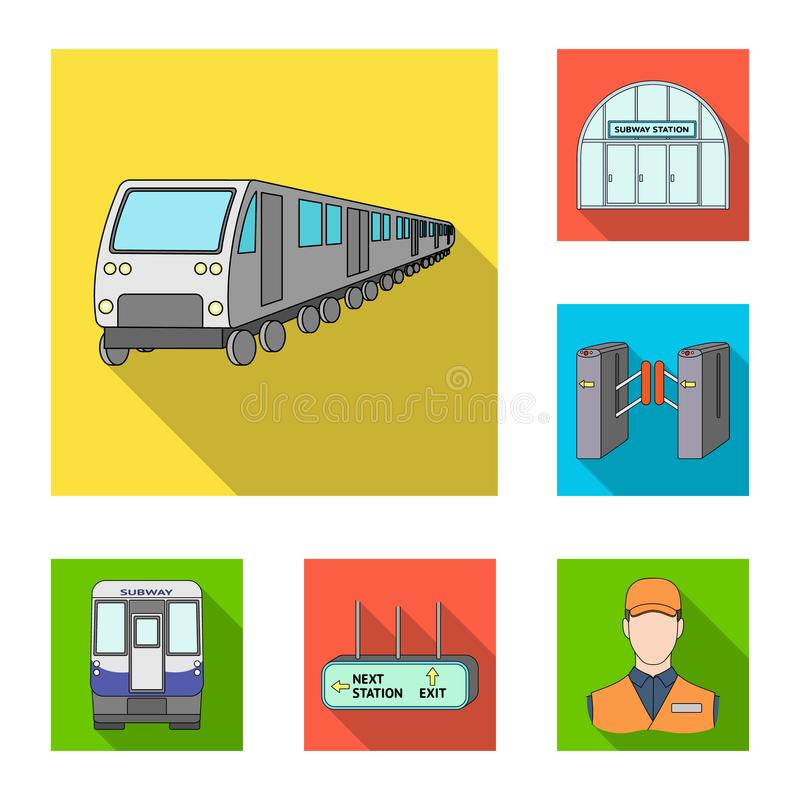 Metro Subway Flat Icons In Set Collection For Designurban