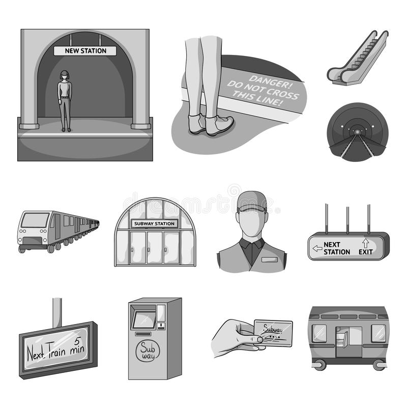Metro Subway Monochrome Icons In Set Collection For Designurban