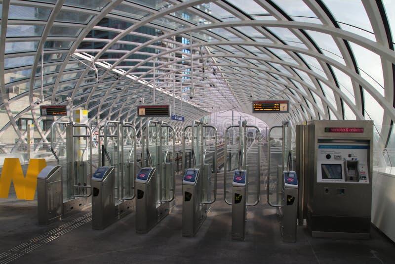 Metro subway station of erasmuslijn at train station of Den Haag Centraal. stock images