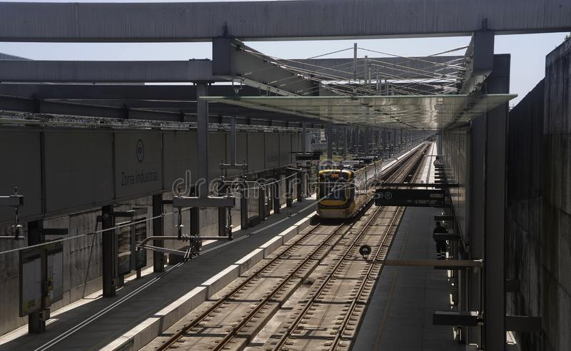 Metro subway station of Maia Portugal with carriages. Modern subway station at Maia industrial state stop.It is very important to the thousands of workers who stock photo
