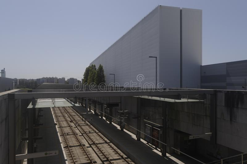 Metro subway station of Maia Portugal. Modern subway station at Maia industrial state stop.With architectural porto editora building on the side royalty free stock images