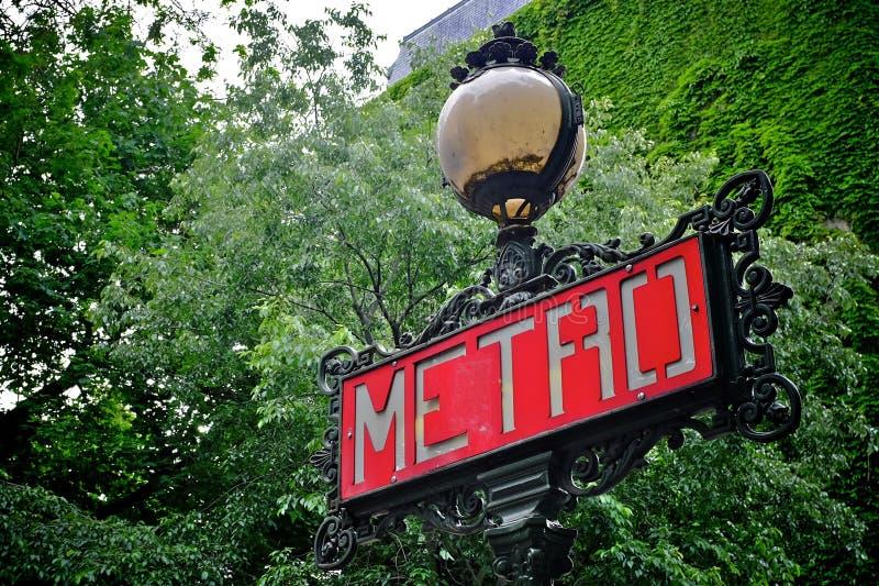 Metro teken Parijs stock foto