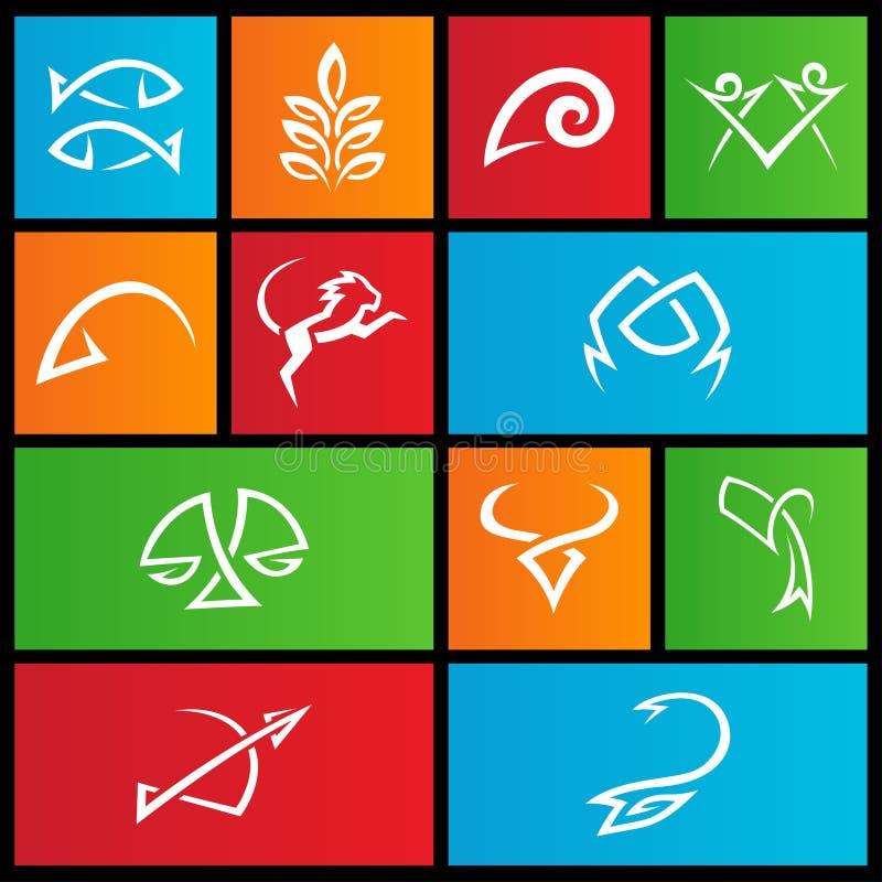 Metro tekens van de stijl de simplistische ster stock illustratie