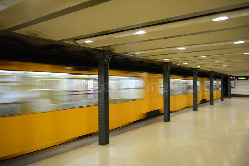 Metro train in motion - Budapest royalty free stock photo