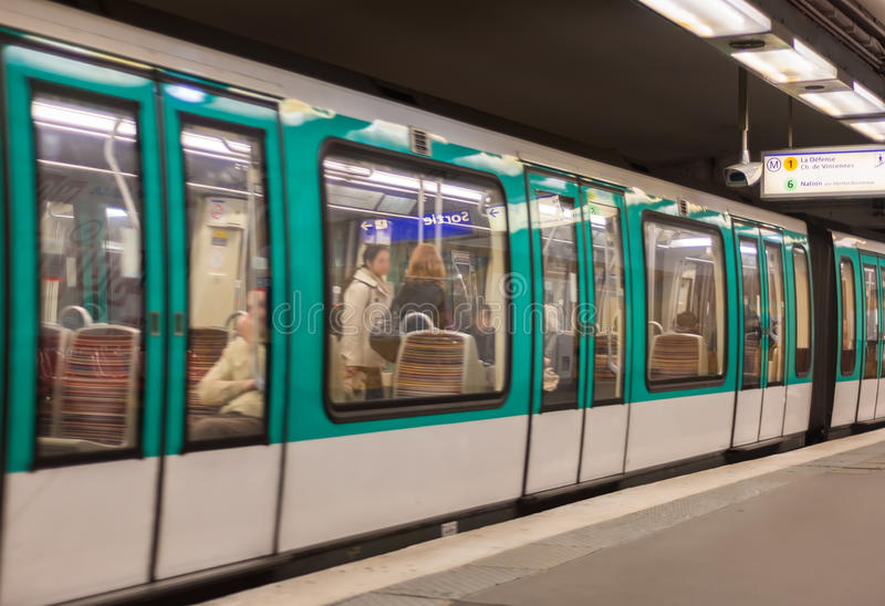 Metro train in a Paris station, France.  royalty free stock photography